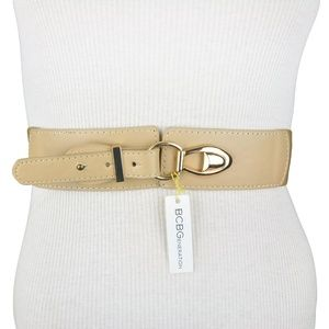 BCBG Faux Leather Stretch Strap Buckle Belt